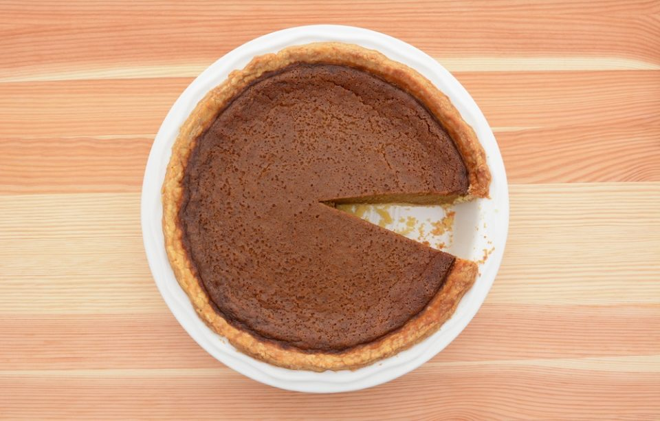 Pumpkin pie one slice missing