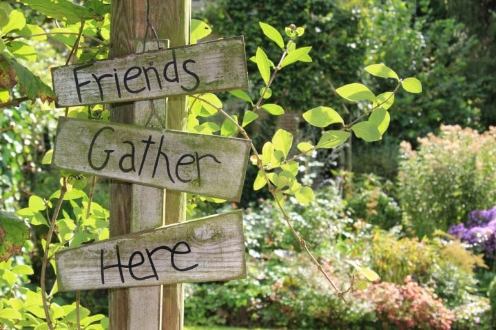 Friends Gather Here Sign