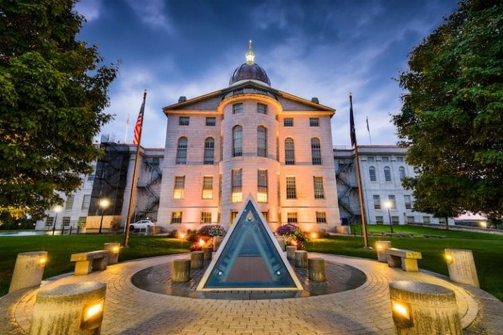 The Maine State House in Augusta, Maine