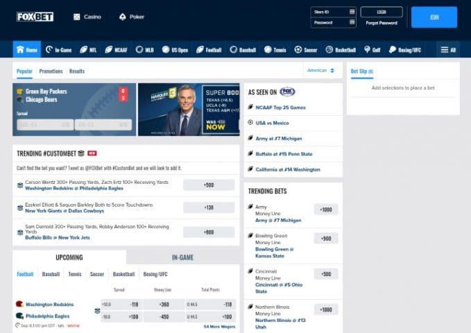 FOX Bet desktop home screen