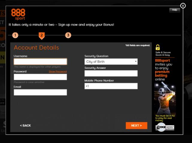 888 Registration Form Sport
