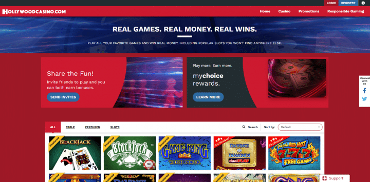 Casino desktop interface