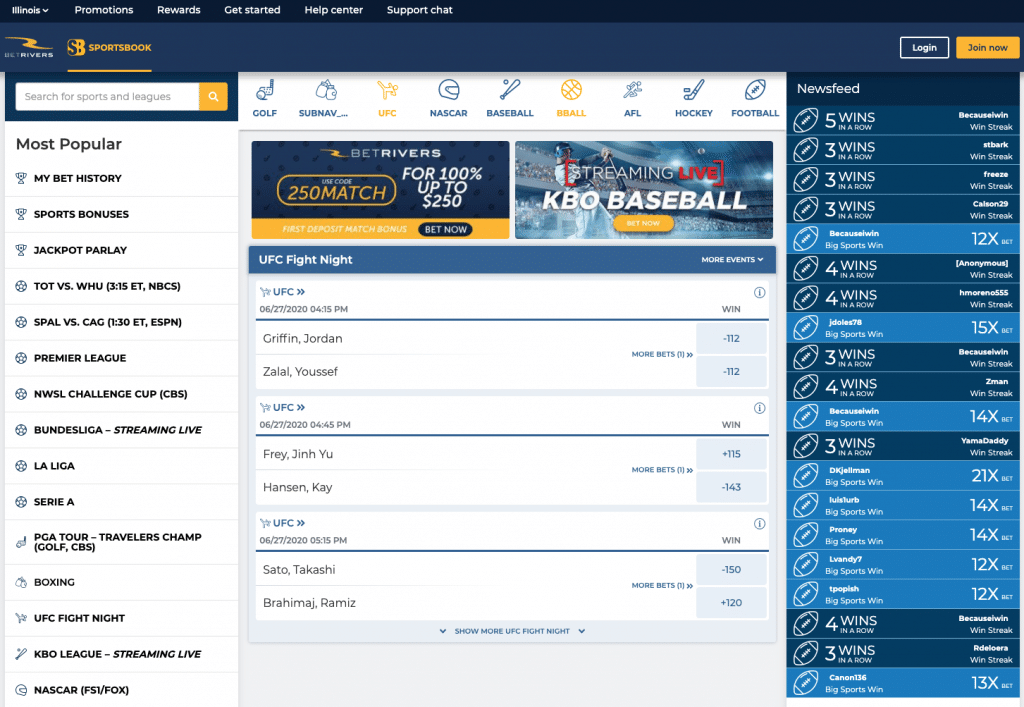 BetRivers web-based platform