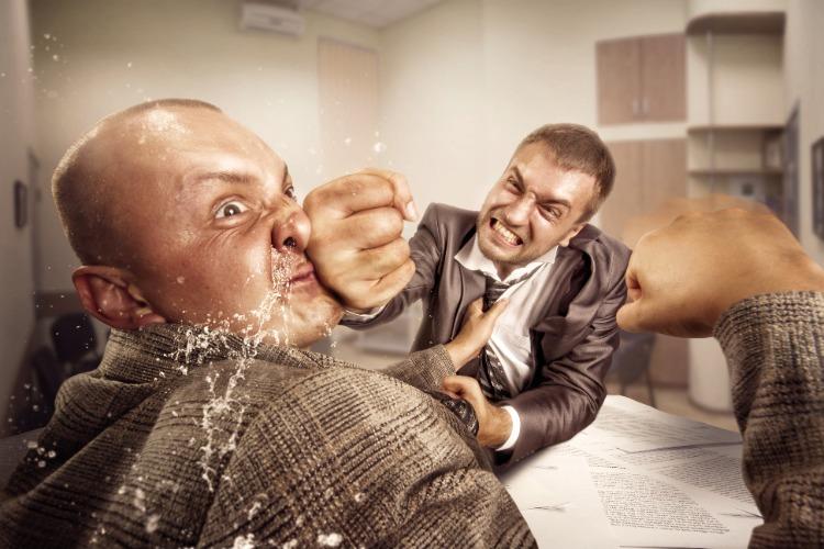 two guys fighting