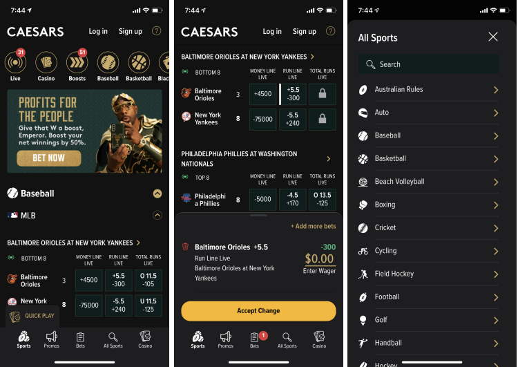 Caesars Mobile App - Dark Mode